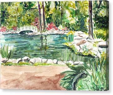 Canvas Print featuring the painting Sayen Pond by Clara Sue Beym