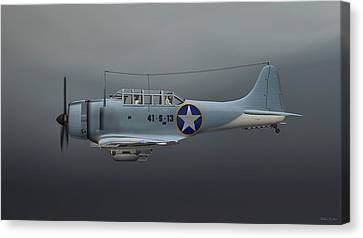Sbd Dive Bomber Canvas Print by Walter Colvin