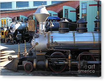 Traintown Canvas Print - Scale Steam Locomotives - Traintown Sonoma California - 5d19200 by Wingsdomain Art and Photography