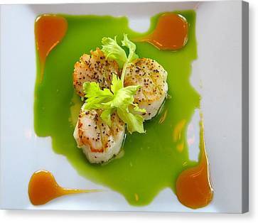 Scallops In Green Sauce Canvas Print