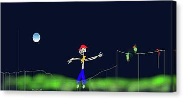 Canvas Print featuring the digital art Scarecrow by Asok Mukhopadhyay
