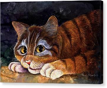 Scaredy Cat Canvas Print by Sherry Shipley