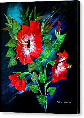 Canvas Print featuring the painting Scarlet Hibiscus by Fram Cama