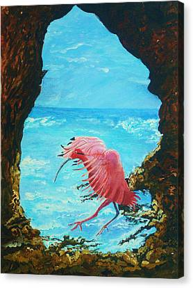 Canvas Print featuring the painting Scarlet Ibis Landing by Joy Braverman