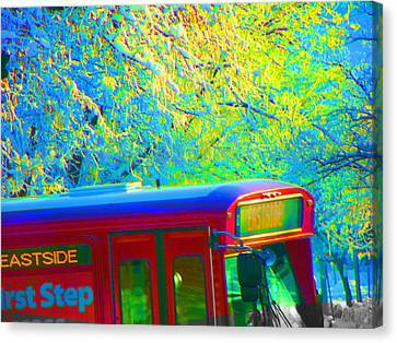 Scene From The Bus Station Canvas Print by Lenore Senior