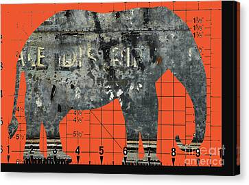 Schematic Elephant Juvenile Art Canvas Print by Anahi DeCanio
