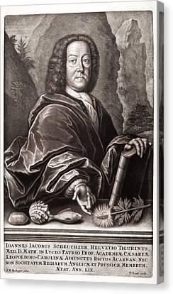 Scheuchzer Portrait 17th/18thc Naturalist Canvas Print by Paul D Stewart