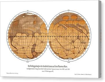 Schiaparelli's Map Of Mars, 1882-1888 Canvas Print by Detlev Van Ravenswaay