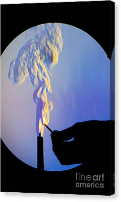 Schlieren Canvas Print - Schlieren Image Of A Candle And Match by Ted Kinsman