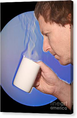Schlieren Canvas Print - Schlieren Image Of Man Drinking Hot by Ted Kinsman