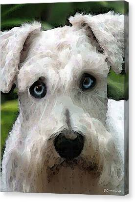 Schnauzer Art - Smokey Canvas Print by Sharon Cummings