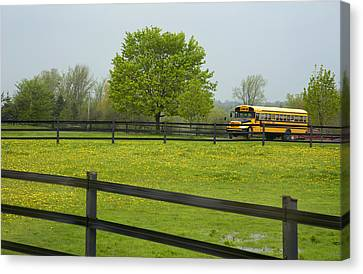 School Bus In A Field In Rural Ontario Canvas Print by Marlene Ford