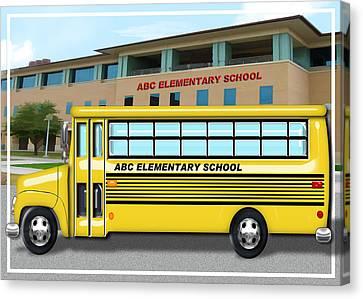 School Bus Canvas Print - School Bus In Front Of School  by Elaine Plesser