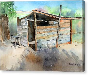 Canvas Print featuring the painting School Cooking Shack - South Africa by Arline Wagner