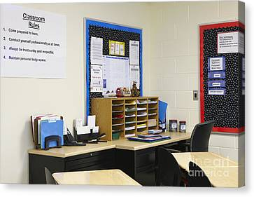 School Teachers Desk Canvas Print by Skip Nall