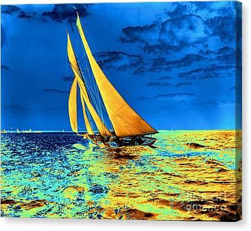 Schooner Ariel's Golden Sails 1899 Canvas Print by Padre Art
