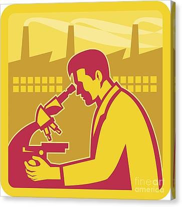 Scientist Researcher Factory Building Retro Canvas Print by Aloysius Patrimonio