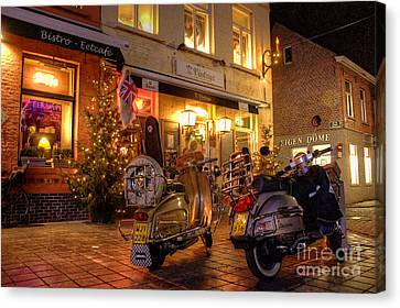 Scooters At The Bistro Canvas Print by Rob Hawkins