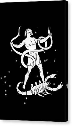 Scorpio And Ophiuchus Constellations Canvas Print by