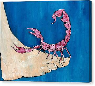 Scorpion On A Foot Canvas Print by Fabrizio Cassetta