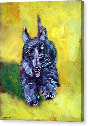 Scottie Trot  - Scottish Terrier Canvas Print by Lyn Cook