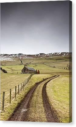 Scottish Borders, Scotland Tire Tracks Canvas Print by John Short