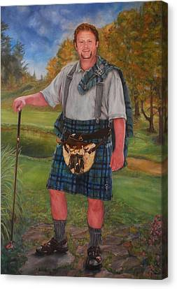 Scottish Golfer Canvas Print by Phyllis Barrett