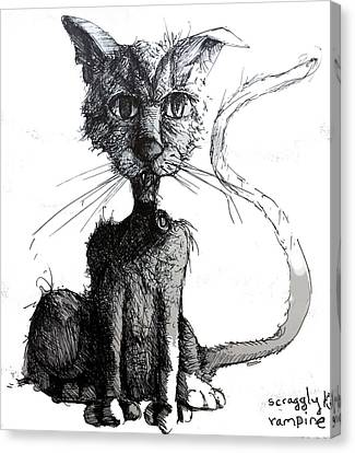 Scraggly Vampire Kiittie Canvas Print by Neal Cormier
