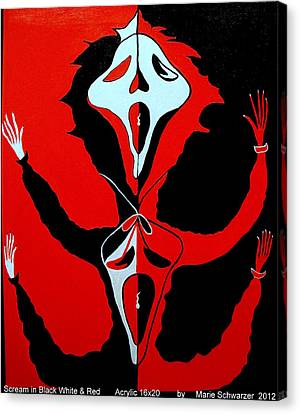 Scream In Black White And Red Canvas Print by Marie Schwarzer