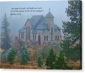 Scripture And Picture Matthew 16 18 Canvas Print by Ken Smith