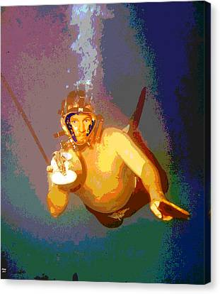 Scuba Diver Canvas Print by Charles Shoup