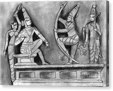 Sculpture Scene From Ramayana  Canvas Print