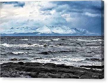 Sea And Mountain In Winter Canvas Print by Bgdl