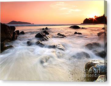 Sea And Rock At The Sunset. Nature Composition.  Canvas Print