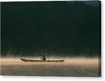 Sea Kayak Silhouette On Potomac River Canvas Print by Skip Brown