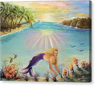 Sea Mermaid Goddess Canvas Print by Bernadette Krupa