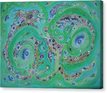 Canvas Print featuring the mixed media Sea Of Eyes by Douglas Fromm