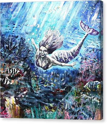 Angel Mermaids Ocean Canvas Print - Sea Surrender by Shana Rowe Jackson