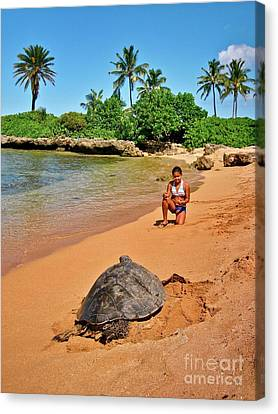 Sea Turtle At Laniakea Canvas Print