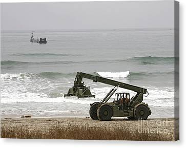 Seabee Loader And Powered Causeway Canvas Print by Michael Wood