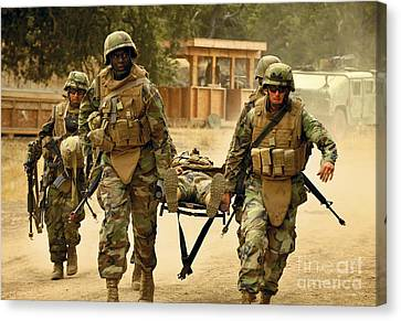 Seabees Conduct A Mass Casualty Drill Canvas Print by Stocktrek Images