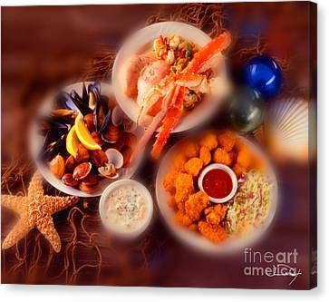 Seafood Dishes Canvas Print by Vance Fox