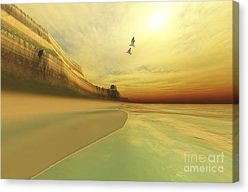 Flying Seagull Canvas Print - Seagulls Fly Near The Mountains Of This by Corey Ford