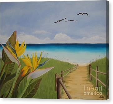Canvas Print featuring the painting Seascape by Jindra Noewi