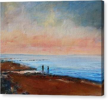 Canvas Print featuring the painting Seascape by Rosemarie Hakim