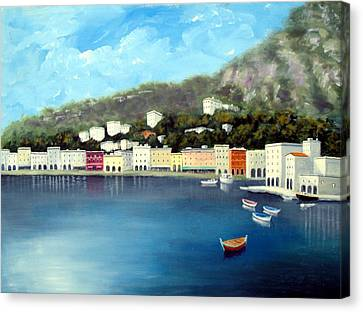 Canvas Print featuring the painting Seaside Town by Larry Cirigliano