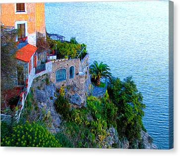 Seaside Villa Amalfi Canvas Print by Bill Cannon