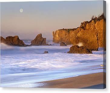 Sea Moon Full Moon Canvas Print - Seastacks And Full Moon At El Matador by Tim Fitzharris