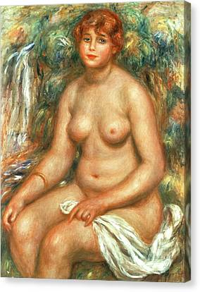 1916 Canvas Print - Seated Bather by Pierre Auguste Renoir