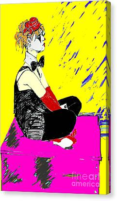 Seated Coloured Clown Canvas Print by Joanne Claxton